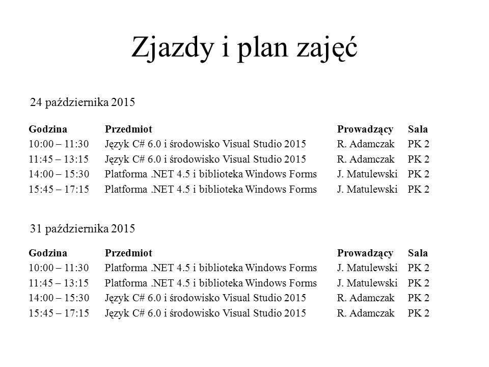 Zjazdy i plan zajęć GodzinaPrzedmiotProwadzącySala 10:00 – 11:30Platforma.NET 4.5 i biblioteka Windows FormsJ. MatulewskiPK 2 11:45 – 13:15Platforma.N