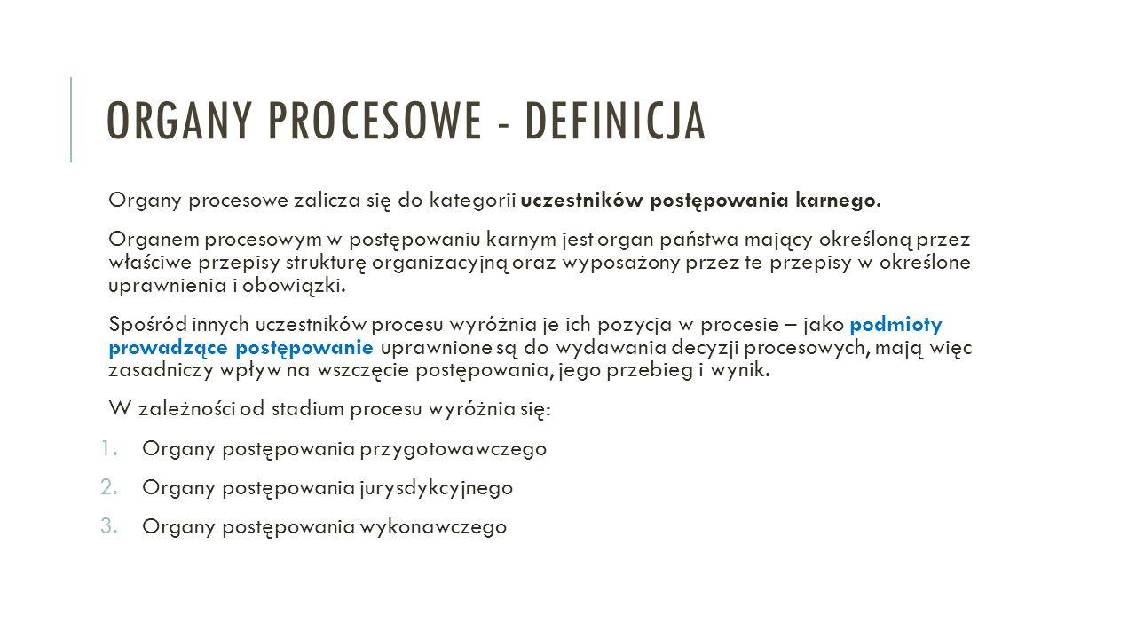 ORGANY PROCESOWE - DEFINICJA Organy procesowe zalicza się do kategorii uczestników postępowania karnego. Organem procesowym w postępowaniu karnym jest
