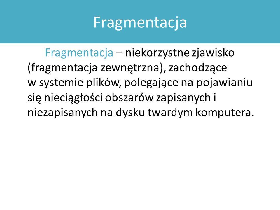 Fragmentacja Fragmentacja – niekorzystne zjawisko (fragmentacja zewnętrzna), zachodzące w systemie plików, polegające na pojawianiu się nieciągłości obszarów zapisanych i niezapisanych na dysku twardym komputera.
