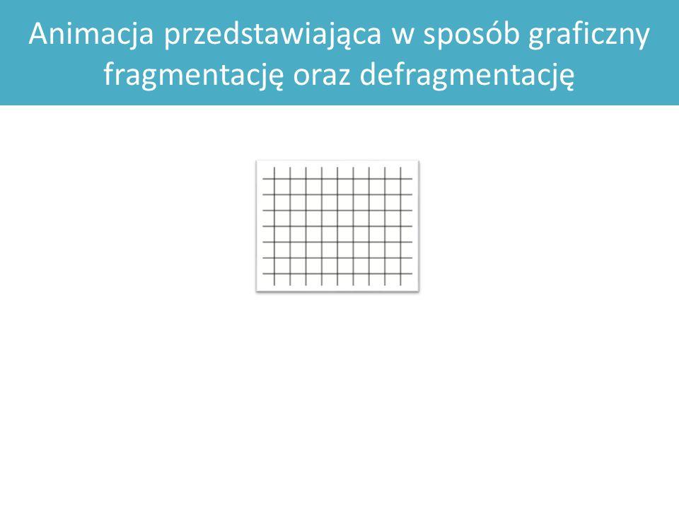 Animacja przedstawiająca w sposób graficzny fragmentację oraz defragmentację