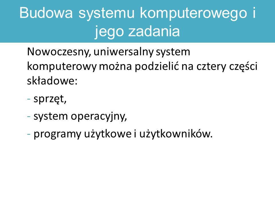 Budowa systemu komputerowego i jego zadania Nowoczesny, uniwersalny system komputerowy można podzielić na cztery części składowe: - sprzęt, - system operacyjny, - programy użytkowe i użytkowników.