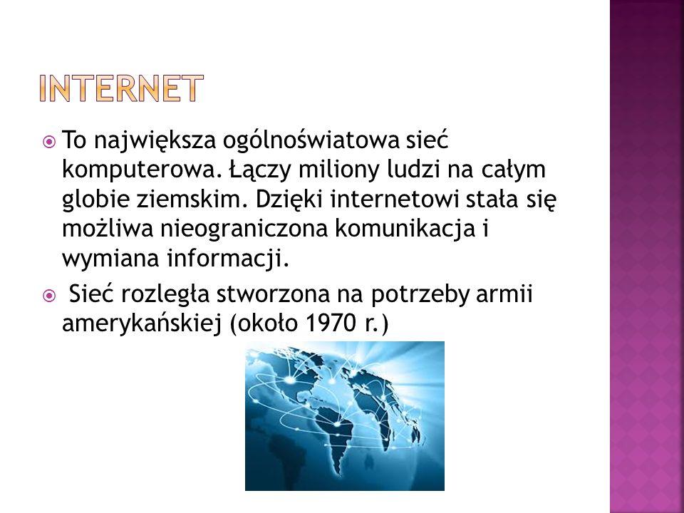  World Wide Web – strony internetowe WWW  Wyszukiwarki – narzędzie służące do wyszukiwania w sieci materiałów (stron WWW)  E-mail – poczta elektroniczna – usługa dzięki, której możliwe jest wysyłanie informacji pomiędzy użytkownikami  Grupy dyskusyjne – służą do wymiany informacji na najróżniejsze tematy pomiędzy grupą zainteresowanych osób  Rozmowy internetowe – za pomocą internetu można bezpośrednio skontaktować się z wybraną osobą i nawiązać z nią rozmowę