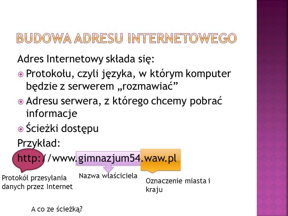  ftp:// - (file transfer Protocol) protokół przesyłania danych przez internet Podaj przykłady adresów stron internetowych