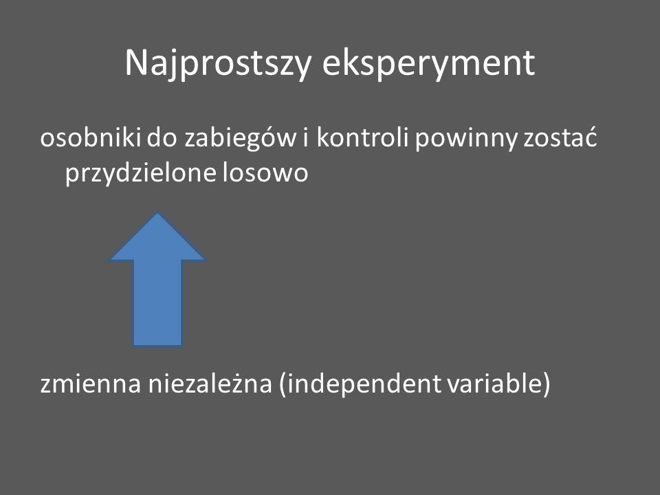 Najprostszy eksperyment osobniki do zabiegów i kontroli powinny zostać przydzielone losowo zmienna niezależna (independent variable)