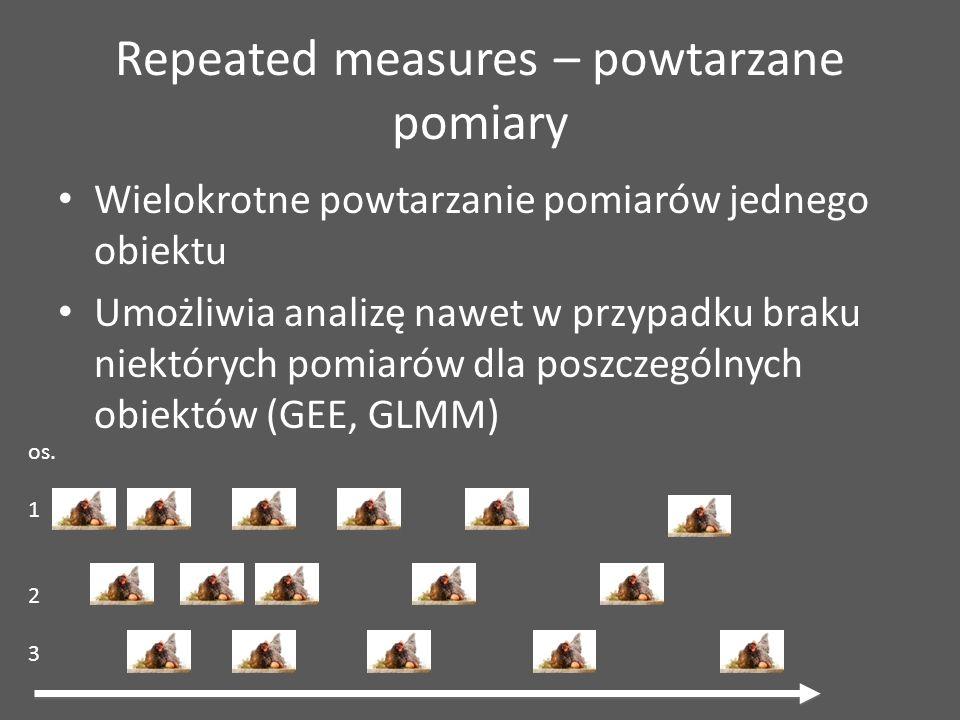 Repeated measures – powtarzane pomiary Wielokrotne powtarzanie pomiarów jednego obiektu Umożliwia analizę nawet w przypadku braku niektórych pomiarów dla poszczególnych obiektów (GEE, GLMM) os.