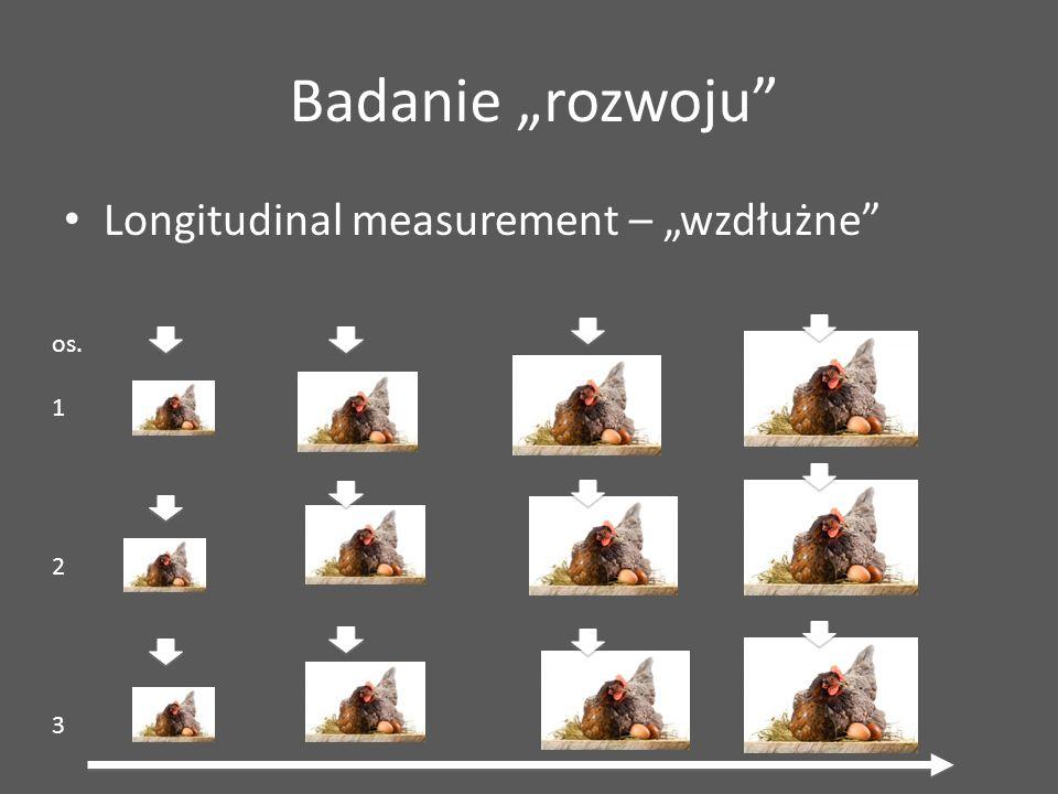 """Longitudinal measurement – """"wzdłużne"""" Badanie """"rozwoju"""" os. 1 2 3"""