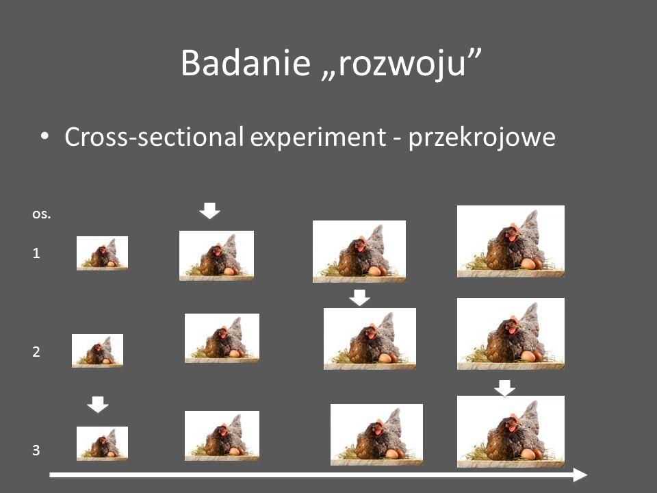 """Cross-sectional experiment - przekrojowe Badanie """"rozwoju"""" os. 1 2 3"""