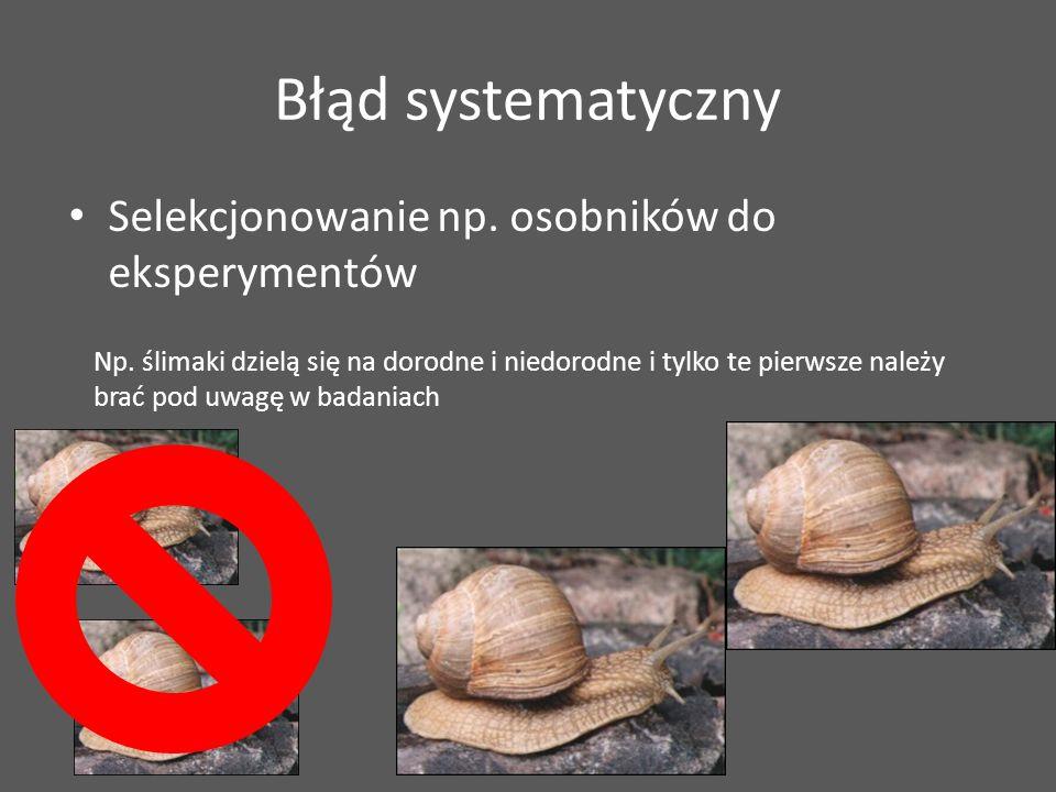 Np. ślimaki dzielą się na dorodne i niedorodne i tylko te pierwsze należy brać pod uwagę w badaniach Błąd systematyczny Selekcjonowanie np. osobników