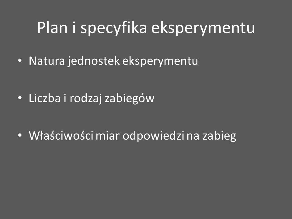 Plan i specyfika eksperymentu Natura jednostek eksperymentu Liczba i rodzaj zabiegów Właściwości miar odpowiedzi na zabieg