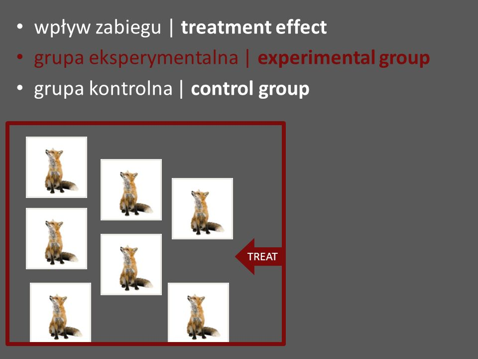 wpływ zabiegu | treatment effect grupa eksperymentalna | experimental group grupa kontrolna | control group TREAT