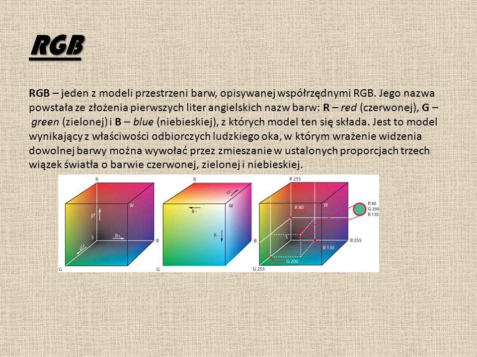 RGB RGB – jeden z modeli przestrzeni barw, opisywanej współrzędnymi RGB.