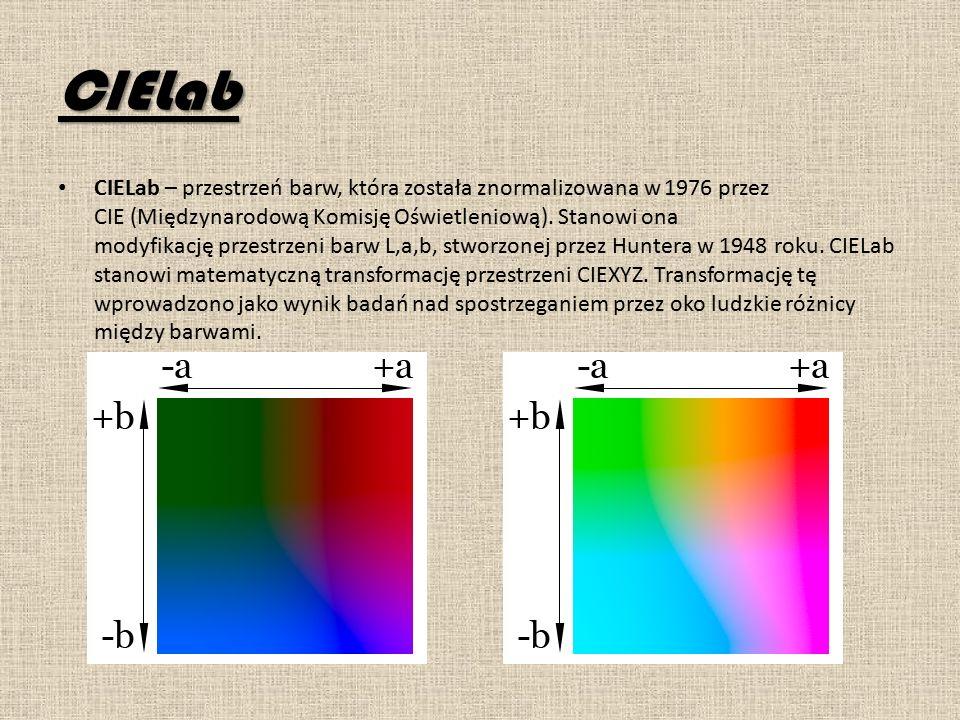 CIELab CIELab – przestrzeń barw, która została znormalizowana w 1976 przez CIE (Międzynarodową Komisję Oświetleniową).
