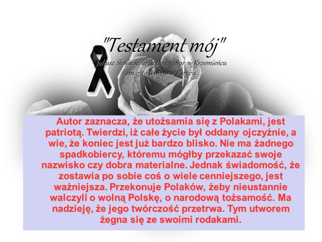 Juliusz Słowacki ur.04.09. 1989r w Krzemieńcu zm.03.04.