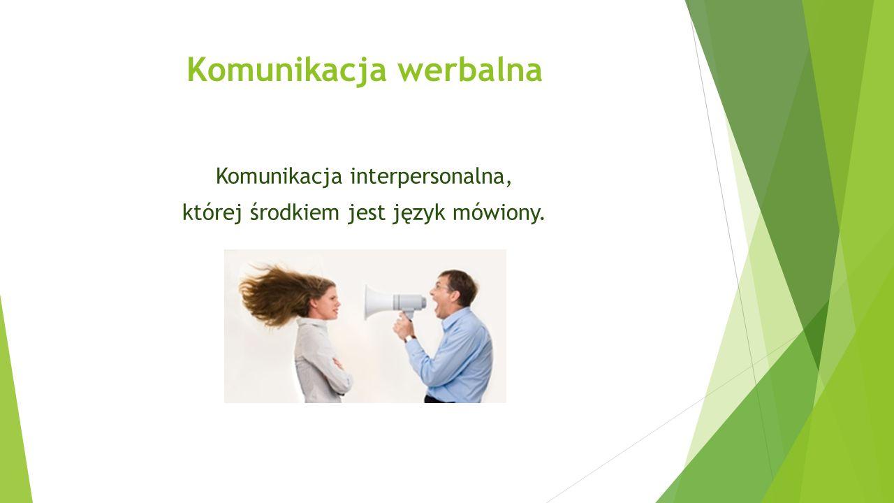 Komunikacja werbalna Komunikacja interpersonalna, której środkiem jest język mówiony.