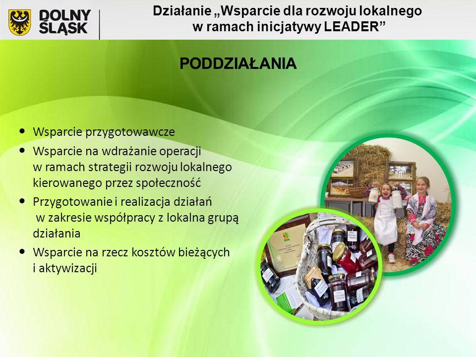 """Wsparcie przygotowawcze Wsparcie na wdrażanie operacji w ramach strategii rozwoju lokalnego kierowanego przez społeczność Przygotowanie i realizacja działań w zakresie współpracy z lokalna grupą działania Wsparcie na rzecz kosztów bieżących i aktywizacji Działanie """"Wsparcie dla rozwoju lokalnego w ramach inicjatywy LEADER PODDZIAŁANIA"""