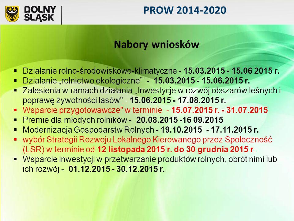 PROW 2014-2020  Działanie rolno-środowiskowo-klimatyczne - 15.03.2015 - 15.06 2015 r.