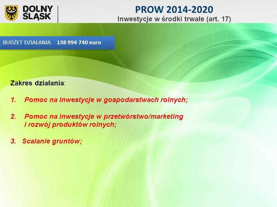 BUDŻET DZIAŁANIA 138 994 740 euro Zakres działania: 1.Pomoc na inwestycje w gospodarstwach rolnych; 2.Pomoc na inwestycje w przetwórstwo/marketing i rozwój produktów rolnych; 3.
