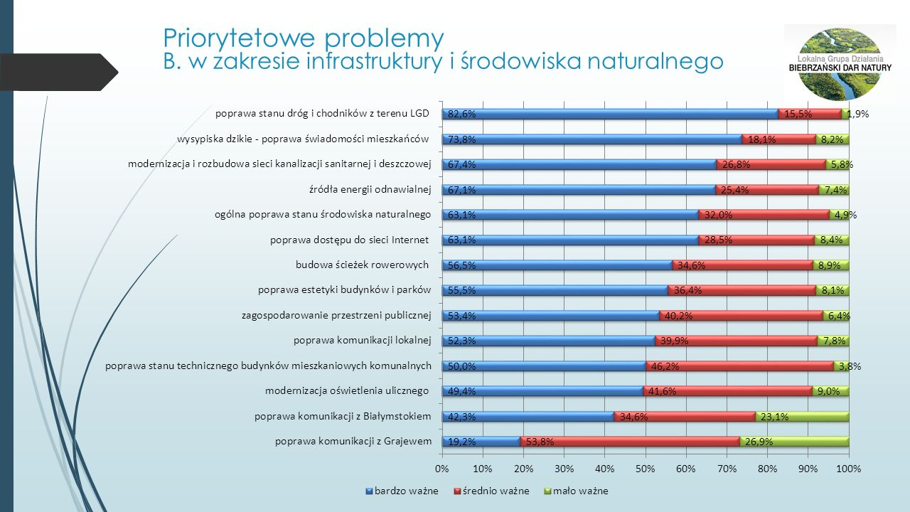 Priorytetowe problemy B. w zakresie infrastruktury i środowiska naturalnego