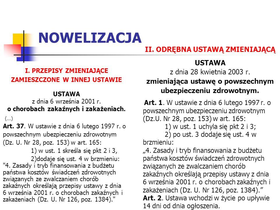 NOWELIZACJA I. PRZEPISY ZMIENIAJĄCE ZAMIESZCZONE W INNEJ USTAWIE USTAWA z dnia 6 września 2001 r.