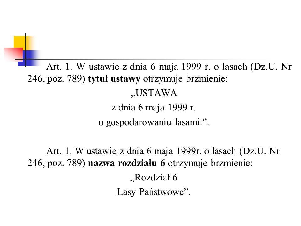 Art. 1. W ustawie z dnia 6 maja 1999 r. o lasach (Dz.U.