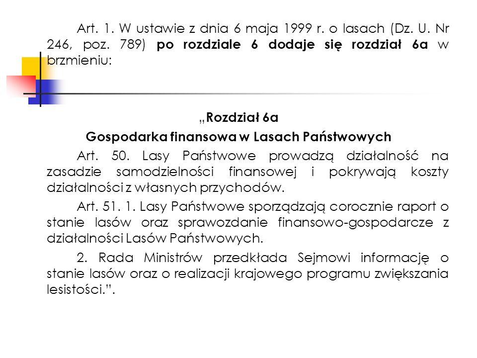 Art. 1. W ustawie z dnia 6 maja 1999 r. o lasach (Dz.