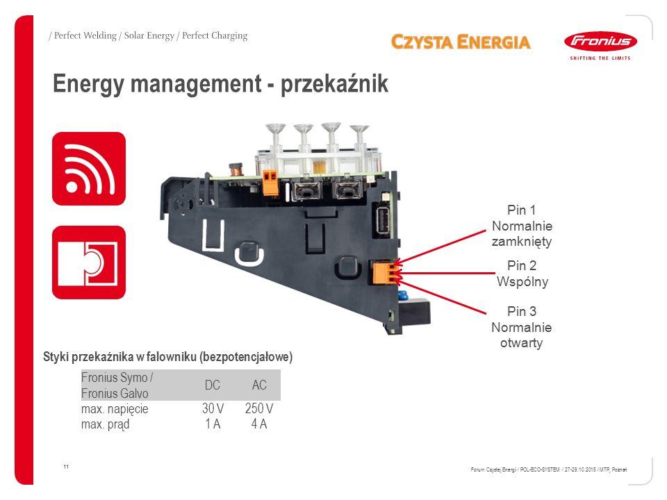Energy management - przekaźnik 11 Forum Czystej Energii / POL-ECO-SYSTEM / 27-29.10.2015 / MTP, Poznań Pin 2 Wspólny Pin 3 Normalnie otwarty Fronius Symo / Fronius Galvo DCAC max.