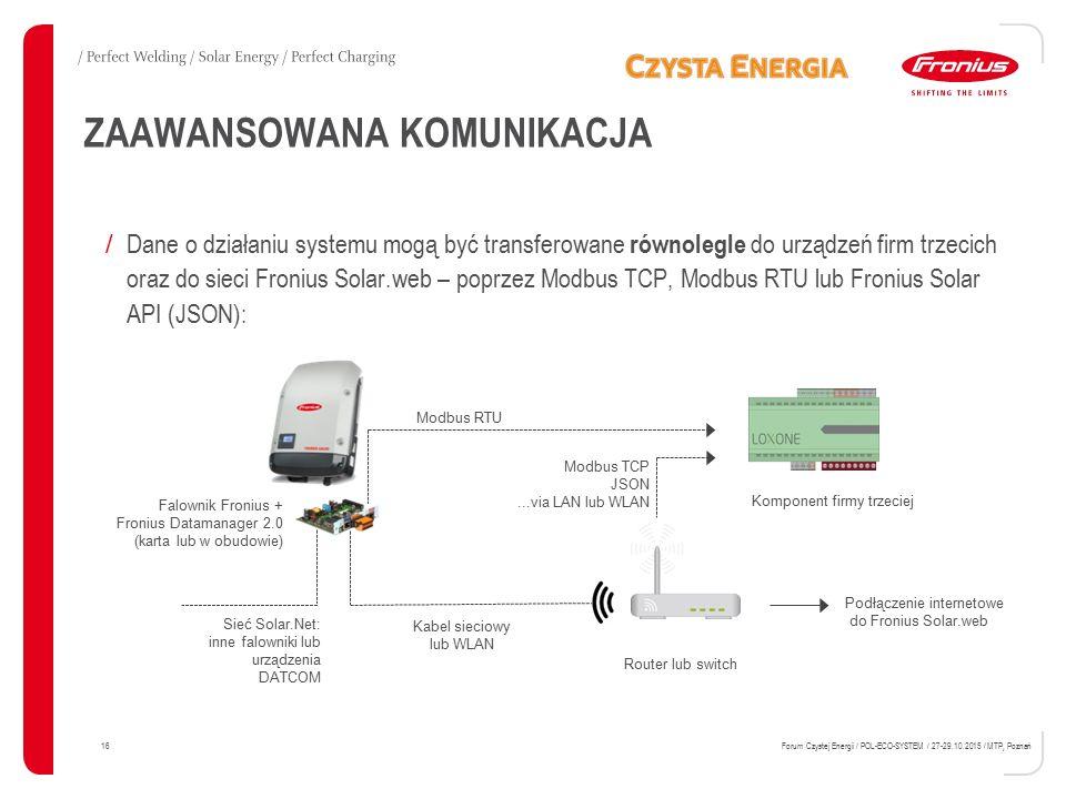 ZAAWANSOWANA KOMUNIKACJA / Dane o działaniu systemu mogą być transferowane równolegle do urządzeń firm trzecich oraz do sieci Fronius Solar.web – popr