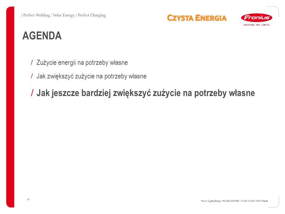 17 Forum Czystej Energii / POL-ECO-SYSTEM / 27-29.10.2015 / MTP, Poznań AGENDA / Zużycie energii na potrzeby własne / Jak zwiększyć zużycie na potrzeby własne / Jak jeszcze bardziej zwiększyć zużycie na potrzeby własne