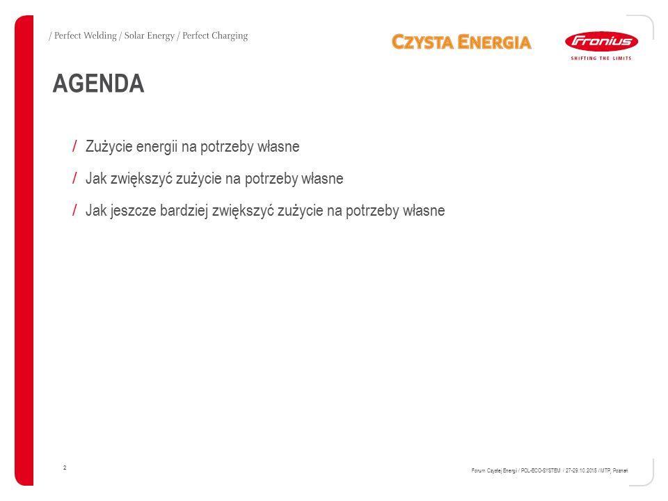 2 Forum Czystej Energii / POL-ECO-SYSTEM / 27-29.10.2015 / MTP, Poznań AGENDA / Zużycie energii na potrzeby własne / Jak zwiększyć zużycie na potrzeby
