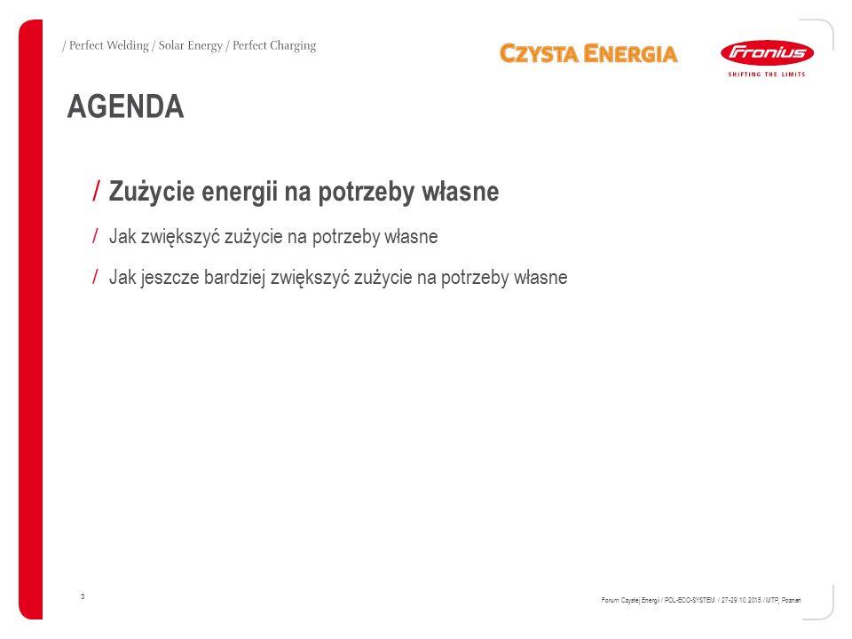 PRZEKAŹNIK Energy management W DATAMANAGER Cyfrowe wyjście Fronius Datamanager: 3,2 W oraz 10,7 V 14 Forum Czystej Energii / POL-ECO-SYSTEM / 27- 29.10.2015 / MTP, Poznań Pin 2 GND Pin 4 I/O 1