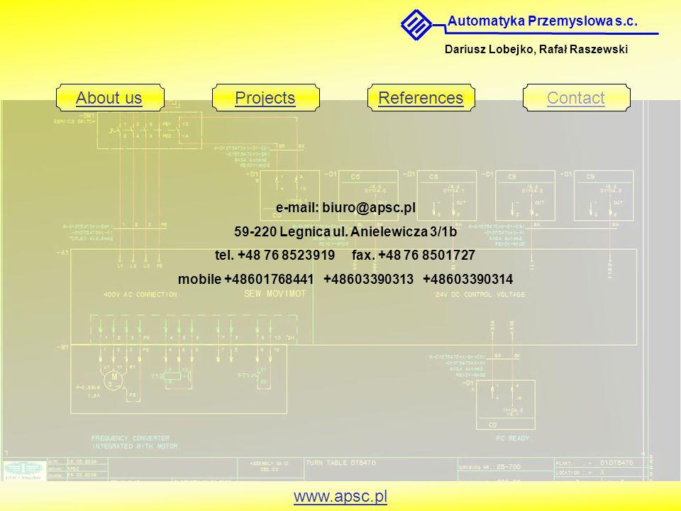 Automatyka Przemyslowa s.c. Dariusz Lobejko, Rafał Raszewski About usProjectsReferencesContact www.apsc.pl e-mail: biuro@apsc.pl 59-220 Legnica ul. An