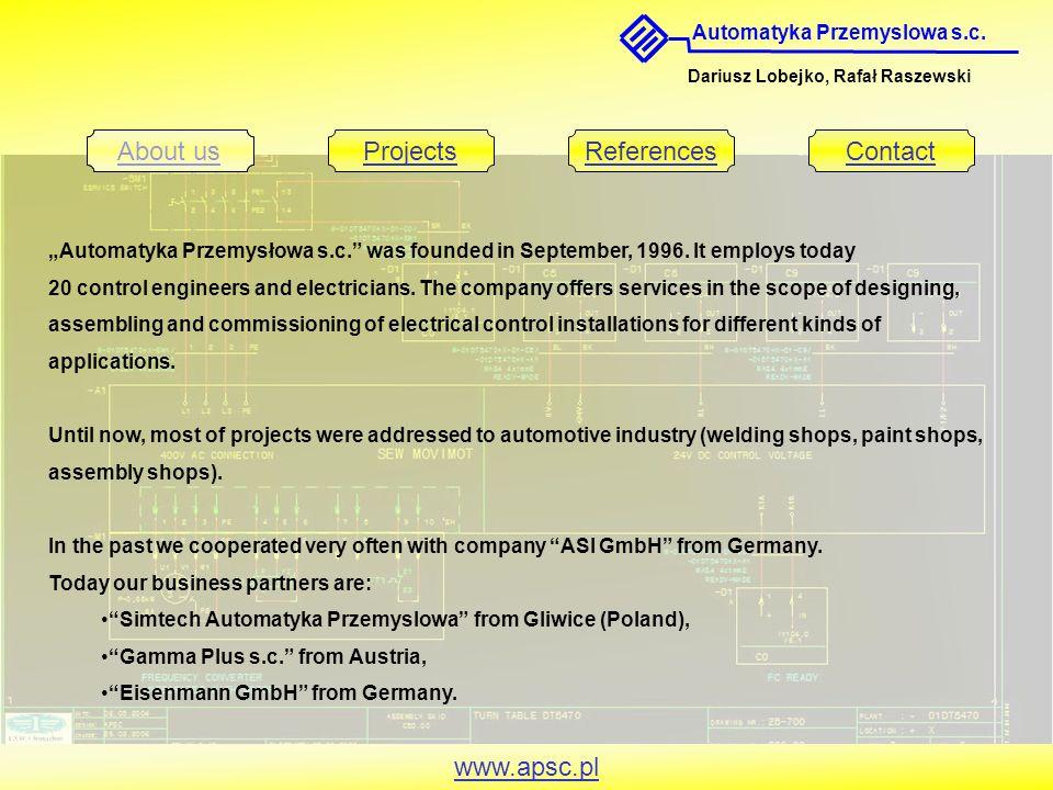 """Automatyka Przemyslowa s.c. Dariusz Lobejko, Rafał Raszewski About usProjectsReferencesContact www.apsc.pl """"Automatyka Przemysłowa s.c."""" was founded i"""