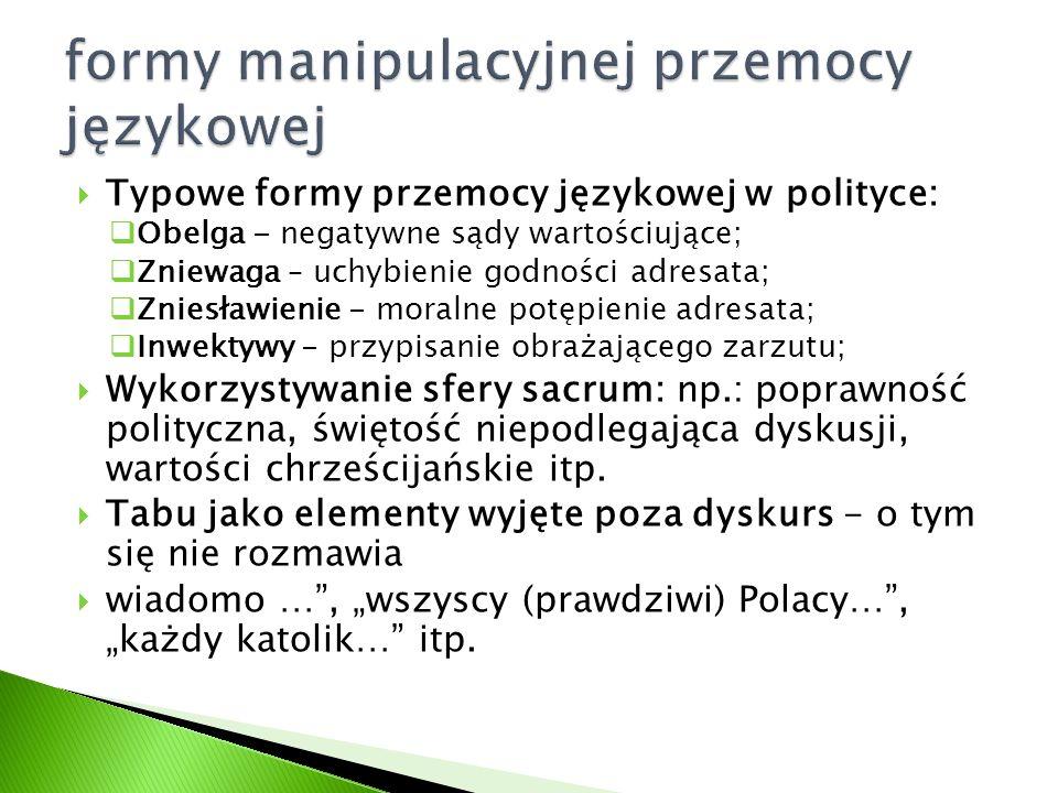  Typowe formy przemocy językowej w polityce:  Obelga - negatywne sądy wartościujące;  Zniewaga – uchybienie godności adresata;  Zniesławienie - mo