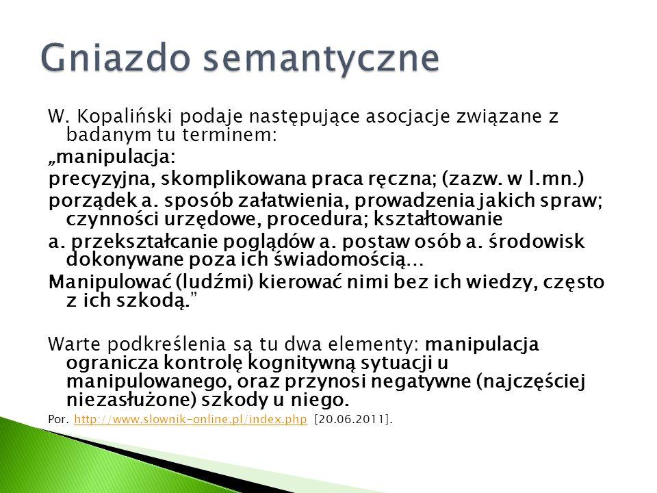 """W. Kopaliński podaje następujące asocjacje związane z badanym tu terminem: """"manipulacja: precyzyjna, skomplikowana praca ręczna; (zazw. w l.mn.) porzą"""