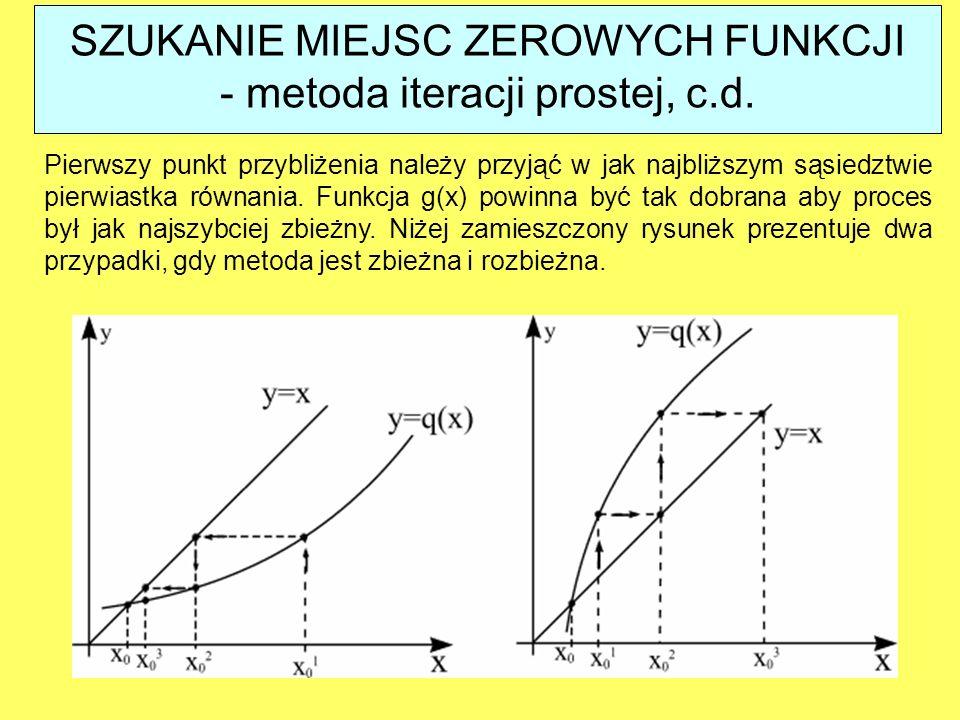 Pierwszy punkt przybliżenia należy przyjąć w jak najbliższym sąsiedztwie pierwiastka równania. Funkcja g(x) powinna być tak dobrana aby proces był jak