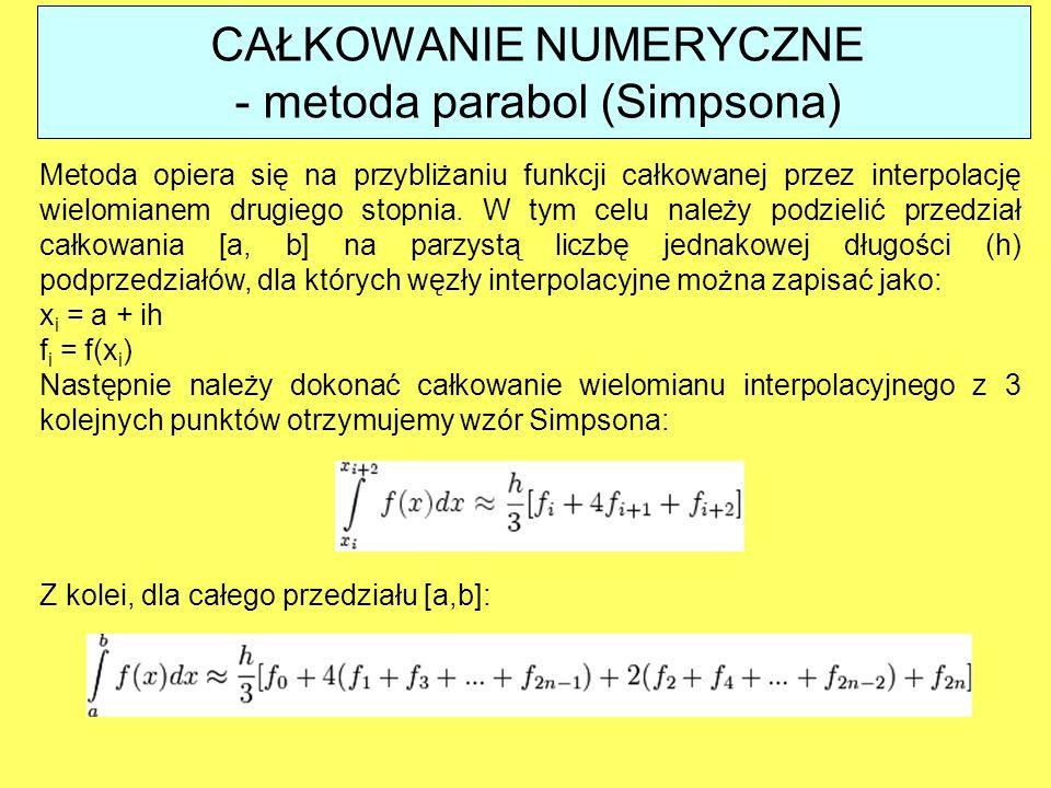 Metoda opiera się na przybliżaniu funkcji całkowanej przez interpolację wielomianem drugiego stopnia. W tym celu należy podzielić przedział całkowania