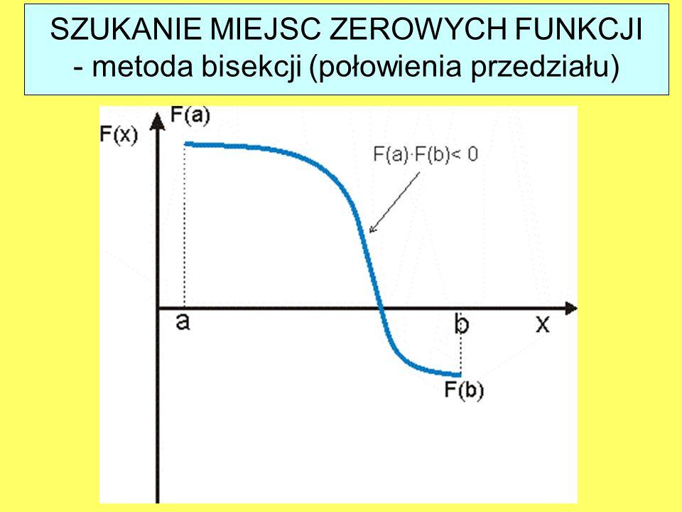 Jeśli funkcja f(x) zmienia się w niewielkim stopniu w przedziale to całkę w tym przedziale dobrze przybliża prostokąt o polu danym wyrażeniem: CAŁKOWANIE NUMERYCZNE - metoda prostokątów ?