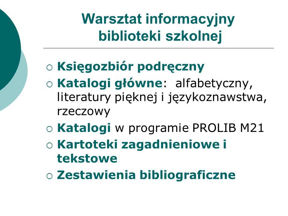 Warsztat informacyjny biblioteki szkolnej  Księgozbiór podręczny  Katalogi główne: alfabetyczny, literatury pięknej i językoznawstwa, rzeczowy  Katalogi w programie PROLIB M21  Kartoteki zagadnieniowe i tekstowe  Zestawienia bibliograficzne