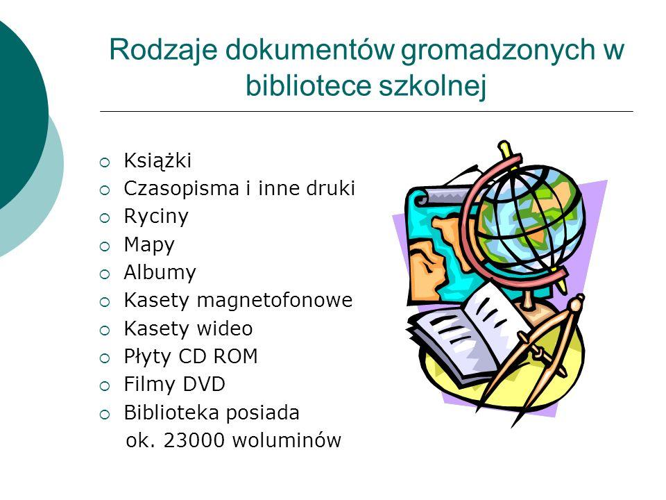 Rodzaje dokumentów gromadzonych w bibliotece szkolnej  Książki  Czasopisma i inne druki  Ryciny  Mapy  Albumy  Kasety magnetofonowe  Kasety wideo  Płyty CD ROM  Filmy DVD  Biblioteka posiada ok.