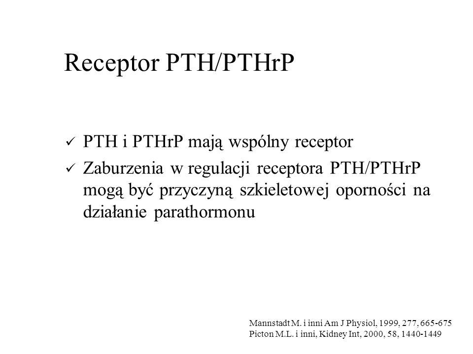 Receptor PTH/PTHrP PTH i PTHrP mają wspólny receptor Zaburzenia w regulacji receptora PTH/PTHrP mogą być przyczyną szkieletowej oporności na działanie parathormonu Mannstadt M.