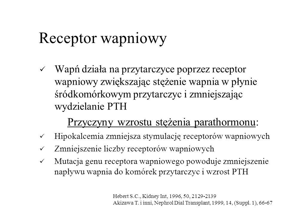 Receptor wapniowy Wapń działa na przytarczyce poprzez receptor wapniowy zwiększając stężenie wapnia w płynie śródkomórkowym przytarczyc i zmniejszając wydzielanie PTH Przyczyny wzrostu stężenia parathormonu: Hipokalcemia zmniejsza stymulację receptorów wapniowych Zmniejszenie liczby receptorów wapniowych Mutacja genu receptora wapniowego powoduje zmniejszenie napływu wapnia do komórek przytarczyc i wzrost PTH Hebert S.C., Kidney Int, 1996, 50, 2129-2139 Akizawa T.