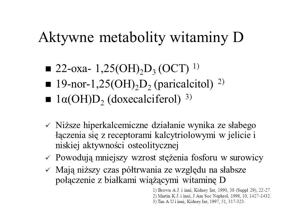Aktywne metabolity witaminy D 22-oxa- 1,25(OH) 2 D 3 (OCT) 1) 19-nor-1,25(OH) 2 D 2 (paricalcitol) 2) 1α(OH)D 2 (doxecalciferol) 3) Niższe hiperkalcemiczne działanie wynika ze słabego łączenia się z receptorami kalcytriolowymi w jelicie i niskiej aktywności osteolitycznej Powodują mniejszy wzrost stężenia fosforu w surowicy Mają niższy czas półtrwania ze względu na słabsze połączenie z białkami wiążącymi witaminę D 1) Brown A.J.