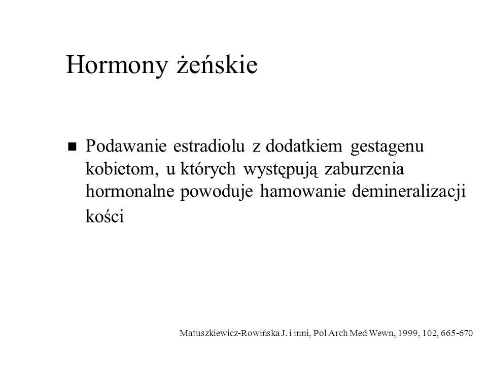 Hormony żeńskie Podawanie estradiolu z dodatkiem gestagenu kobietom, u których występują zaburzenia hormonalne powoduje hamowanie demineralizacji kości Matuszkiewicz-Rowińska J.