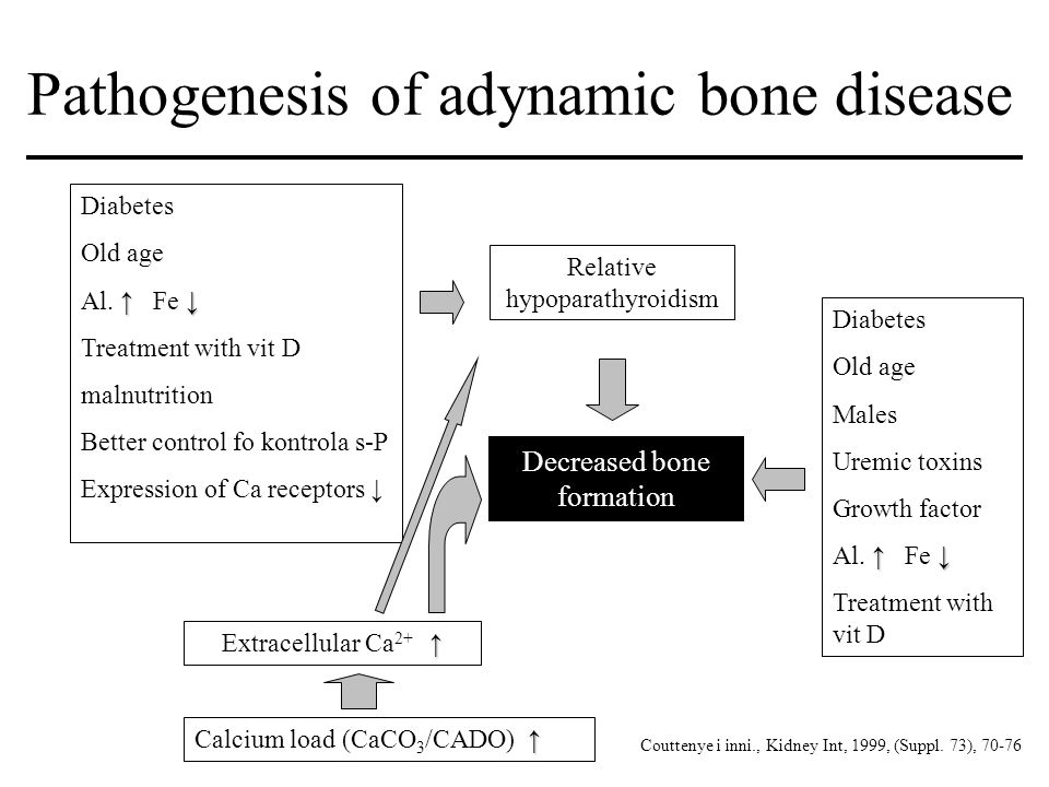 Pathogenesis of adynamic bone disease Decreased bone formation Diabetes Old age Males Uremic toxins Growth factor ↑ ↓ Al. ↑ Fe ↓ Treatment with vit D