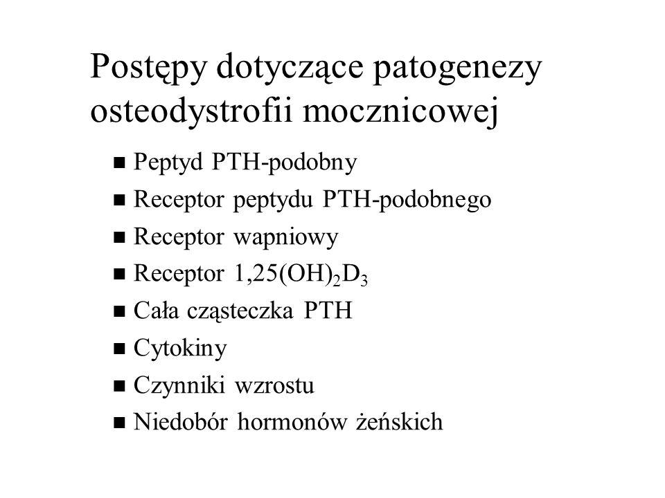 Postępy dotyczące patogenezy osteodystrofii mocznicowej Peptyd PTH-podobny Receptor peptydu PTH-podobnego Receptor wapniowy Receptor 1,25(OH) 2 D 3 Cała cząsteczka PTH Cytokiny Czynniki wzrostu Niedobór hormonów żeńskich