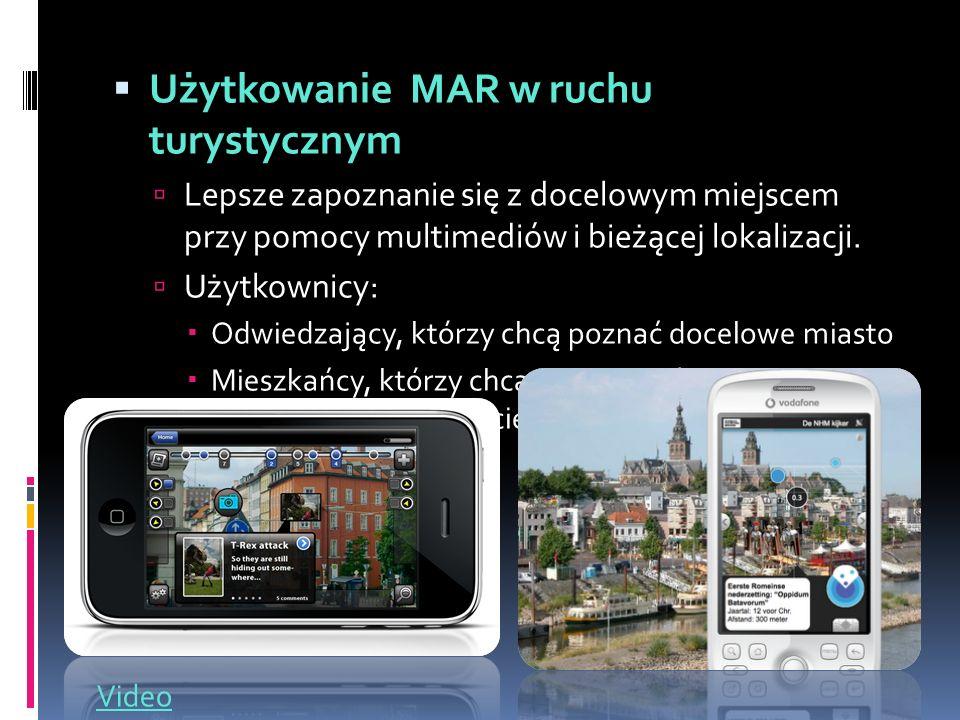  Użytkowanie MAR w ruchu turystycznym  Lepsze zapoznanie się z docelowym miejscem przy pomocy multimediów i bieżącej lokalizacji.