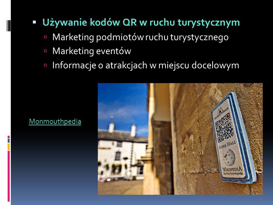  Używanie kodów QR w ruchu turystycznym  Marketing podmiotów ruchu turystycznego  Marketing eventów  Informacje o atrakcjach w miejscu docelowym Monmouthpedia