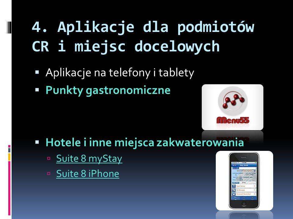 4. Aplikacje dla podmiotów CR i miejsc docelowych  Aplikacje na telefony i tablety  Punkty gastronomiczne  Hotele i inne miejsca zakwaterowania  S