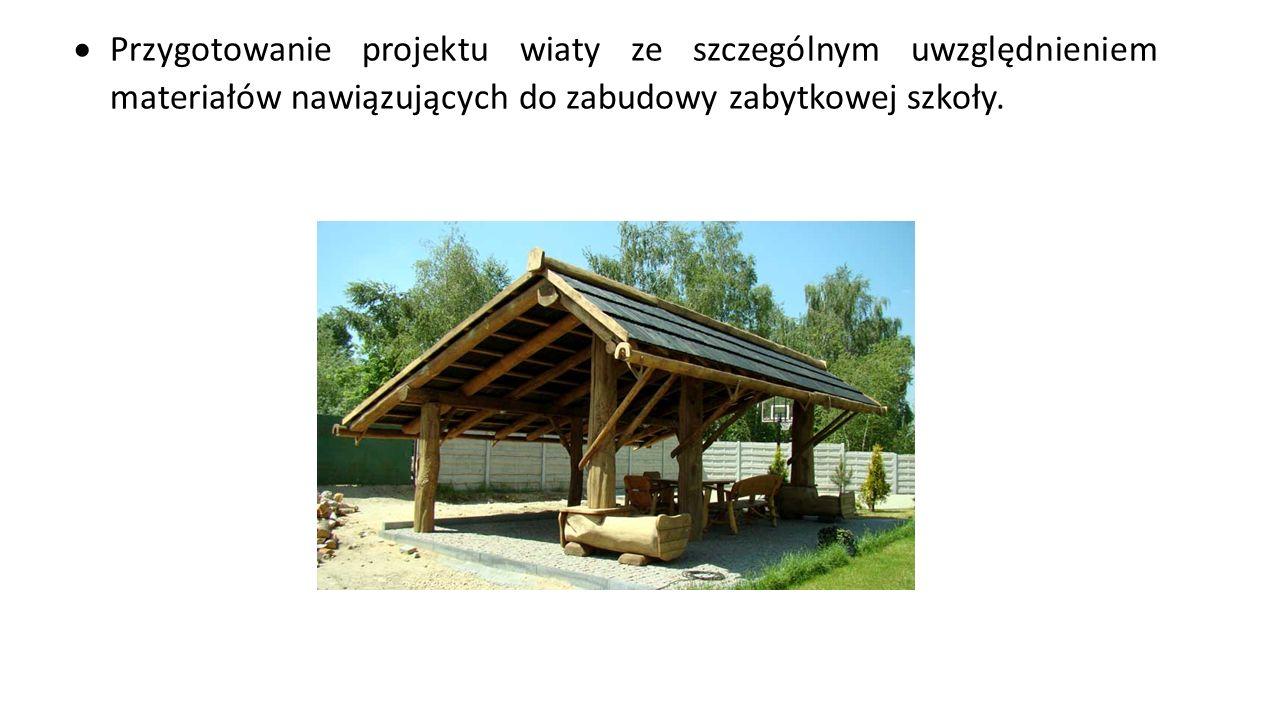  Budowa wiaty – zabudowa na kształcenie prostokąta o dachu dwuspadowym, powierzchnia zabudowy do 25 m2.