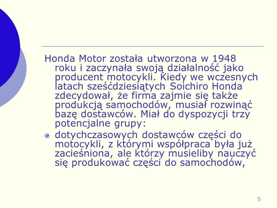 5 Honda Motor została utworzona w 1948 roku i zaczynała swoją działalność jako producent motocykli. Kiedy we wczesnych latach sześćdziesiątych Soichir